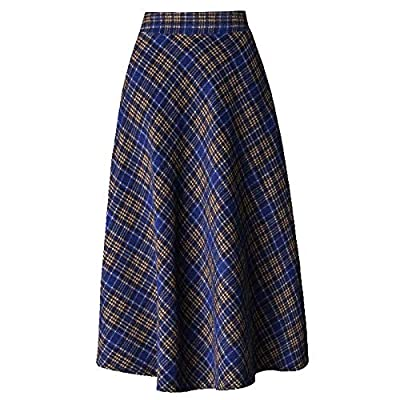 Women Woolen Long Skirt Plaid High Waist Umbrella Big Hem A Skirt
