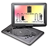 """DR.J 14.1 inch 7 Hours Portable DVD Player, with Build-in Rechargeable Battery, 270°Swivel Screen, 1.8M Car charger and Power supplier, SD Card Slot and USB Port, Black (14.1"""")"""