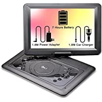 DR.J 14.1 inch 7 Hours Portable DVD Player, with Build-in Rechargeable Battery, 270°Swivel Screen, 1.8M Car charger and Power supplier, SD Card Slot and USB Port, Black (14.1')