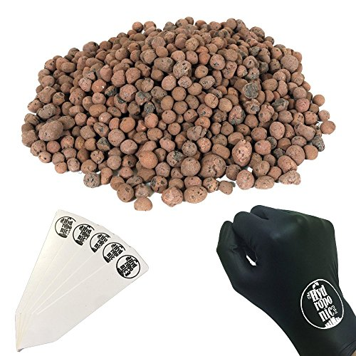 Grow!t 100% Natural Clay Pebbles Grow Media Expanded Porous Rock Aqua Hydroponic - 1 Gallon + Gloves & Stakes