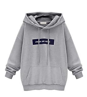 ZHIXING Donna Oversize Felpe Pullover Sweatshirt Manica Lunga Felpa con Cappuccio Casual Tops