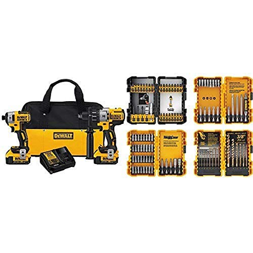 DEWALT 20V MAX XR Brushless Impact Driver and Hammer Drill Combo Kit, Premium 4.0Ah (DCK299M2) with DEWALT DWA2FTS100 Screwdriving and Drilling Set, 100 Piece