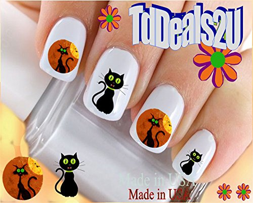 Holiday Halloween - Black Cat WaterSlide Nail Art Decals - Highest Quality! Made in USA