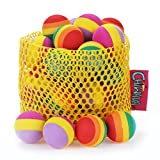 """Chiwava 24PCS 1.2"""" Foam Small Cat Toy Ball Rainbow Antenna Balls Kitten Activity Chase Toys Assorted Color"""