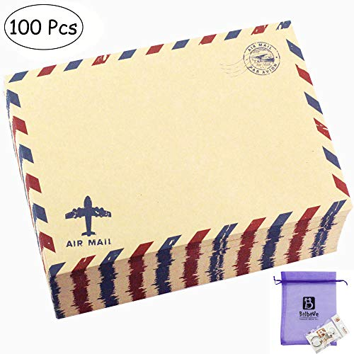 Bolbove Set of 100 Pcs Classic AirMail Vintage Style Kraft Paper Postcard Letter Envelopes Invitations (100 Brown)