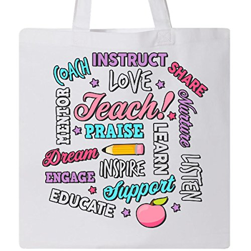 Inktastic - Teacher Word Salad with Pencil and Apple with Tote Bag White 2b4ad