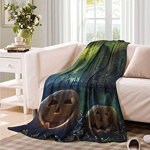 Oncegod Blanket Custom Photo Halloween Pumpkin in Spooky Grave Recliner Throw,Couch Throw, Couch wrap 72