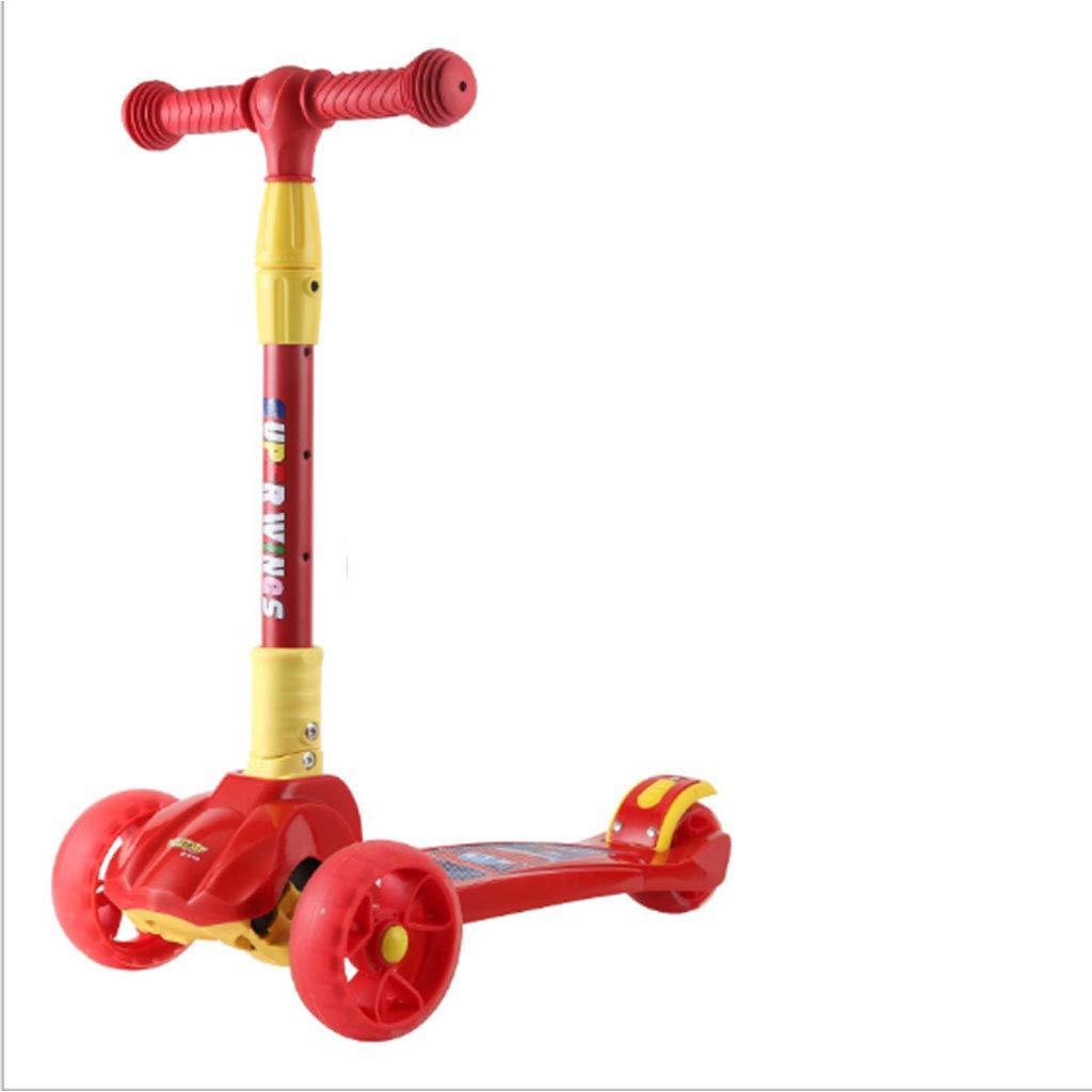 rot 60-64.5-71-71.5(CM) Kinderroller Für Kinder Im Alter Von 2-10 Jahren Mit Faltbaren Led-Leuchten Für Höhe Und Leichtbau