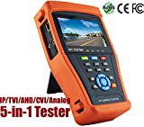 Wsdcam 5-in-1 Touchscreen POE CCTV Tester for IP / AHD / CVI / TVI / Analog Cameras, 1080P, BNC, 2A 12V DC Power Out, Network Cable Tester, Rechargeable Battery, WiFi, Audio-In+Out