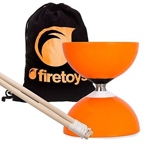 Juggle Dream Orange Carousel - Fast Bearing Diabolo Set, Hardwood Diablo Sticks, Pro String & Firetoys Bag!