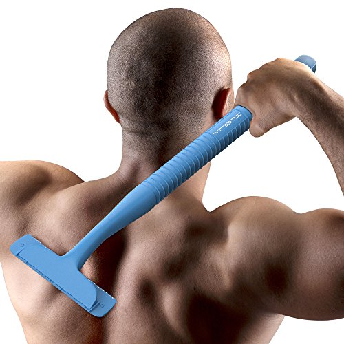 Price comparison product image Vremi Back Shaver Body Groomer for Men - Long Shaving Handle with 3 Replacement Blades for Back Hair - Personal Painless Hair Shavers - Manual Cordless Remover with Easy Replaceable Blade - Blue