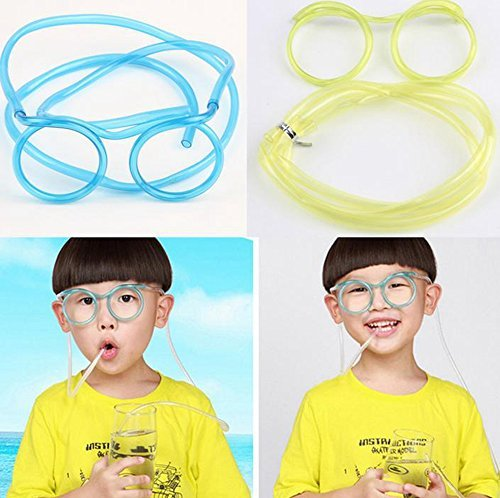 Qich® 5pcs DIY straws Silly multi-colors Glasses Drinking Straw Eyeglass Frames for (Drinking Eye Glasses)