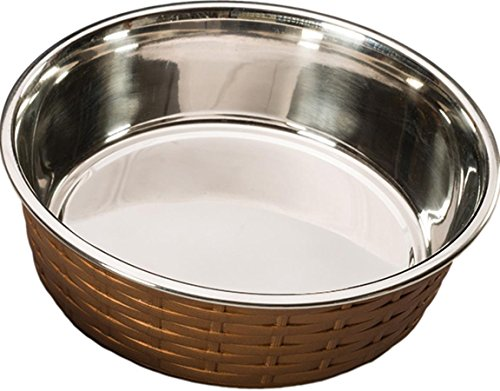 Ethical Pets Soho Basket Weave Stainless Dog Dish, 15 oz, Copper