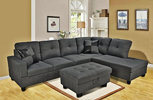 Eternity Home Panama 3 Seated Right Facing L Shaped Sectional Sofa with Ottoman, Dark Grey