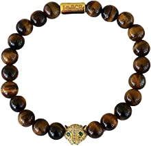 Gold Leopard Charm Genuine Tiger Eye Stone Bead Stretchy Elastic Bracelet, 8mm, Friendship, Couples