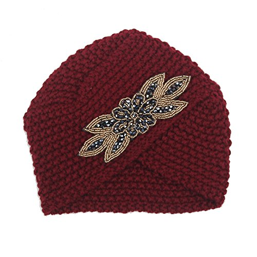 ♫2018 Fashion Hat,Womens Solid Cross-Studded Winter Warm Knit Crochet Braided Turban Headdress Pullover Cap -