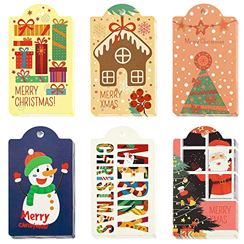 SallyFashion Christmas Gift Tags,120pcs 6 Design Paper Christmas Paper Kraft Hang Gift Labels with String