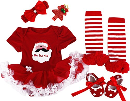 Santa Outfit Girls For (CAKYE Baby Girls' Christmas Outfits 4PCs Santa Tutu Dress Legging Shoe Headband (Small(3-6 months),)