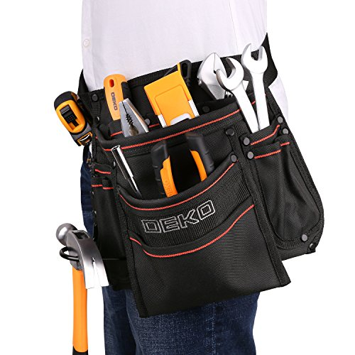 DEKO Tool Pouch with Belt 12 Pockets Electrician Tool Carpenter Nail Waist Bag 600D Oxford cloth Black by DEKO (Image #5)