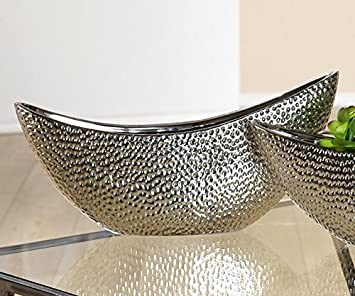 Silberschale Deko.Gilde Deko Schale Circular 40 Cm Silber Amazon De