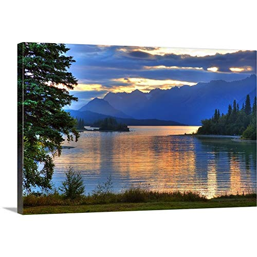 Sunrise on Lake Clark in Lake Clark National Park, Southcentral, Alaska, HDR Image Canvas Wall