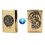 Zippo Lion Gate Gold + Unicorn Gold Lighters 1 + 1 / 2 PCS / Genuine / Org Packing (6 Flints 2 sets Free Gift)