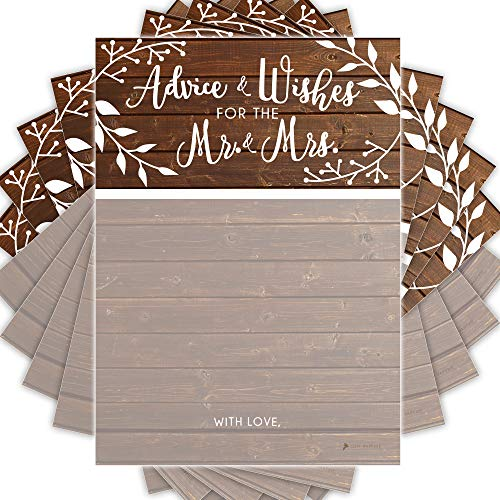 GSM Brands Wedding Advice Cards | Rustic | Well Wishes to Bride & Groom | Guest Book Alternative | Bridal Showers Games and Decorations - 50 -