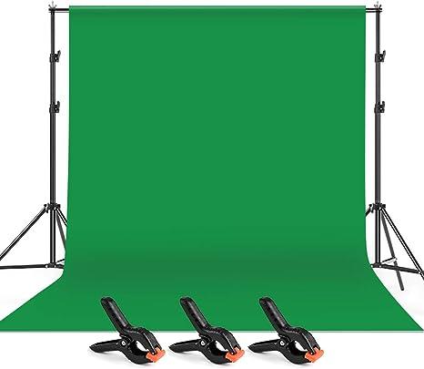 Fond Studio Photo Portable Vert, avec 2 Supports, 3 Clips