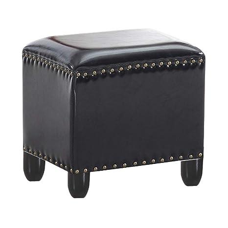 Admirable Amazon Com Square Pouffe Ottoman Bench Leather Wood Frame Evergreenethics Interior Chair Design Evergreenethicsorg