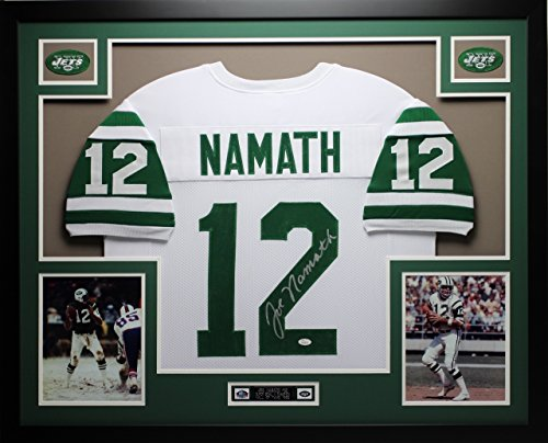 Joe Namath Autographed White Jets Jersey - Beautifully Matted and Framed - Hand Signed By Joe Namath and Certified Authentic by JSA COA - Includes Certificate of Authenticity