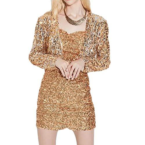 Paillettes Or z À Cardigan Court Mode Brillant Femmes Qiyun Longues Manches Clubwear Veste Manteau wqOZnt