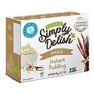Simply Delish Natural Instant Vanilla Pudding - Sugar Free, Non GMO, Gluten Free, Fat Free, Vegan, Keto Friendly - 1.7 OZ (Pack of 3)
