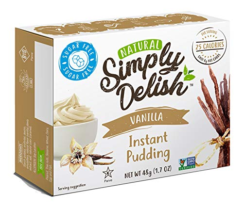 Simply Delish Natural Instant Vanilla Pudding - Sugar Free, Non GMO, Gluten Free, Fat Free, Vegan, Keto Friendly - 1.7 OZ (Pack of 3)