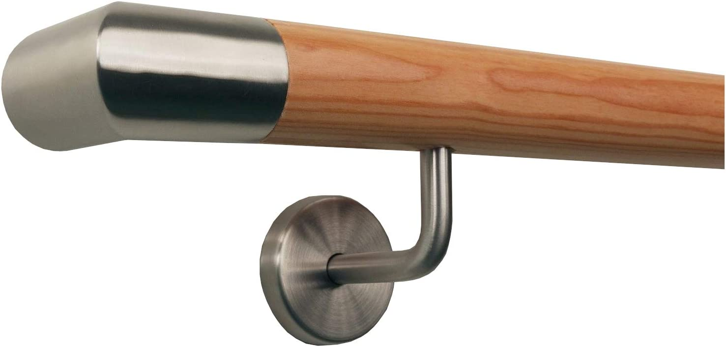 L/ärche Handlauf Treppen Gel/änder Handl/äufer 30-500 cm aus einem St/ück mit Halter St/ützen Tr/äger und bearbeiteten Enden