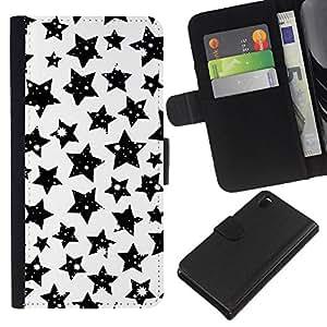 Sony Xperia Z3 D6603 / D6633 / D6643 / D6653 / D6616 , la tarjeta de Crédito Slots PU Funda de cuero Monedero caso cubierta de piel ( Stars Black White Sky Night Universe Cosmos)