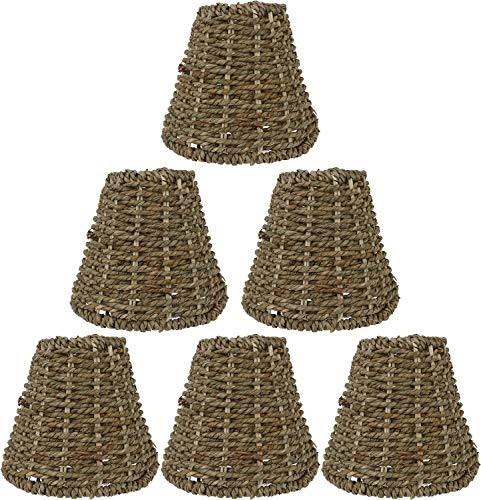 Urbanest Set of 6 Natural Seagrass Chandelier Lamp Shades, Clip-on, 2 7/8-inch by 5 1/2-inch by 5-inch (Seagrass Lighting)