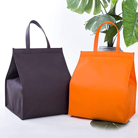 AAWWWT Velcro Cake Insulation Bag, Portable Lunch Bag, Picnic Bag, Fresh Ice Pack, Zipper Lunch Box Bag@14 Inch 100pc_Orange: Amazon.es: Jardín