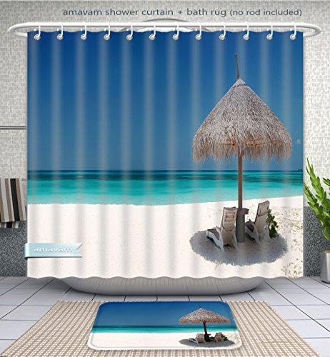 Amavam Bathroom 2-Piece Suit 18X1318-2X400 Shower Curtain And Bath Rug Set, 71''Wx79''H & 31''Wx20''H by Amavam
