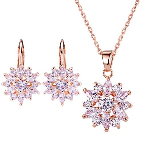 Bamoer Earring Stud Necklace Jewelry Set Women Favorite Fashion 18K Gold Plated Jewelry Set Gift Best Gift for Girlfriend