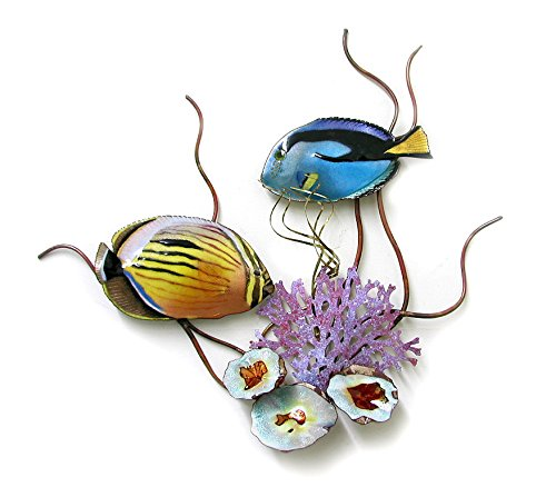 "Flagtail Surgeon & Blacktail Butterfly Fish, Enamel Glass Copper Metal Wall Art, Large Metal Wall Art in Modern Tropical Design, 3D Wall Art for Modern and Contemporary DŽcor, 15""x 16Ó made in New England"