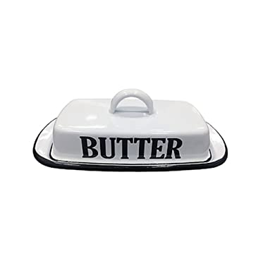VIP- Vintage Farmhouse Style Enamel Butter Dish, White and Black