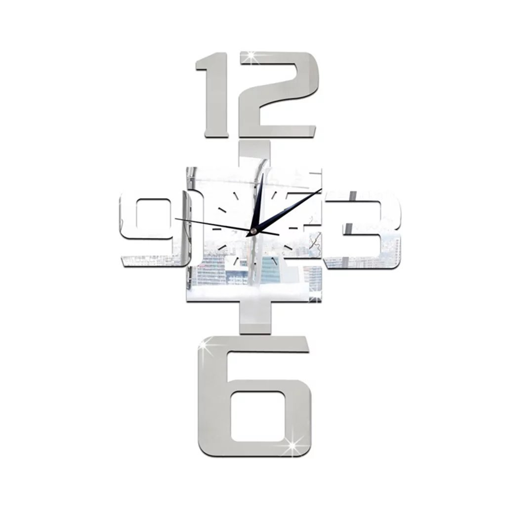 Amazon.com: BJXM Home Decoration New wall clock watch clocks horloge reloj de pared large decorative quartz living room modern acrylic 3d mirror wall ...