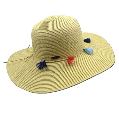 Straw Packable Sun Hat with Tassels, 4