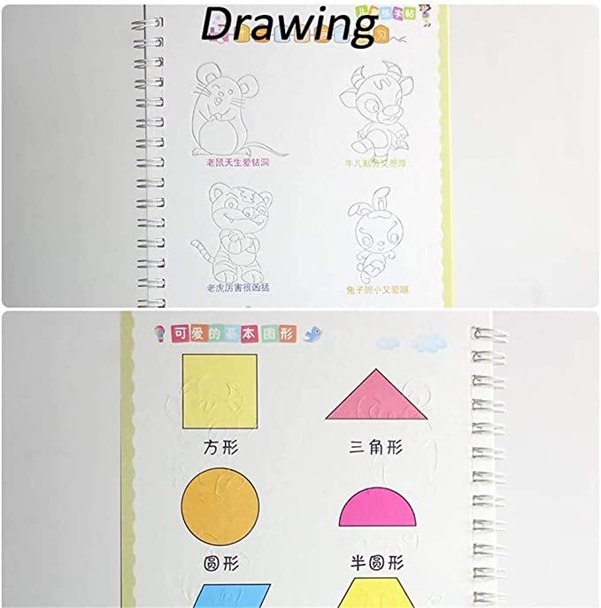 Number and Shapes Workbook for Kids Pens/&Numbers WYBF Magic Writing Paste Childrens Kindergarten Grooves Post Before School Handwriting Alphabet