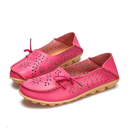 Laars-damesschoenen Lederen Casual Loafer Schoenen Rose Rood