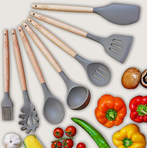 Kitchen Utensil Set - 7 Best Kitchen Utensils - Nonstick Cooking Spatulas - Silicone & Wood - For Pots & Pans - Spoon & Slotted Spoon, Ladle, Spatula, Pasta Server, Slotted Turner, Oil Brush + Gift by Home Fashion