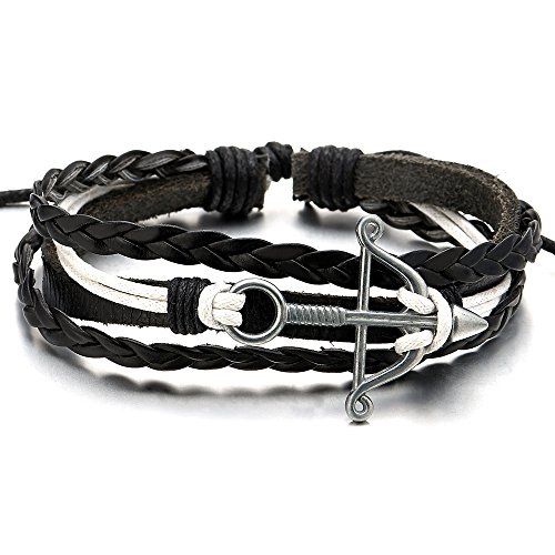 Womens Leather Cotton Bracelet Wristband