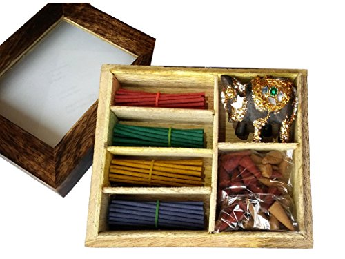 Incense Gift - Relaxus Nirvana Incense Gift Set With Decorative Elephant holder in A Wooden Gift Box