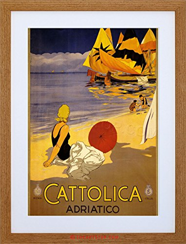TRAVEL TOURISM CATTOLICA ITALY SUN SEA BEACH SAND FRAMED PRINT F97X7019 (Sun Classic Bilder)