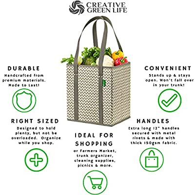 Reusable Grocery Shopping Box Bags (3 Pack) Premium Quality Tote Set with Extra Long Handles & Reinforced Sides. Foldable, Collapsible, Durable and Eco Friendly